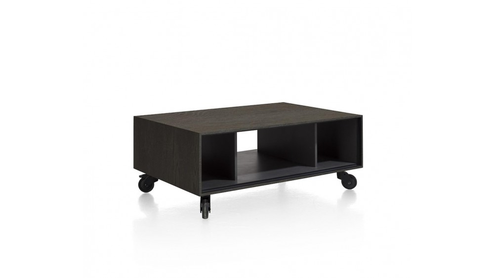 Elements, Salontafel 60 X 90 Cm. + 3-Niches - Met Zwarte Wielen & Extra Set Poten - Onyx