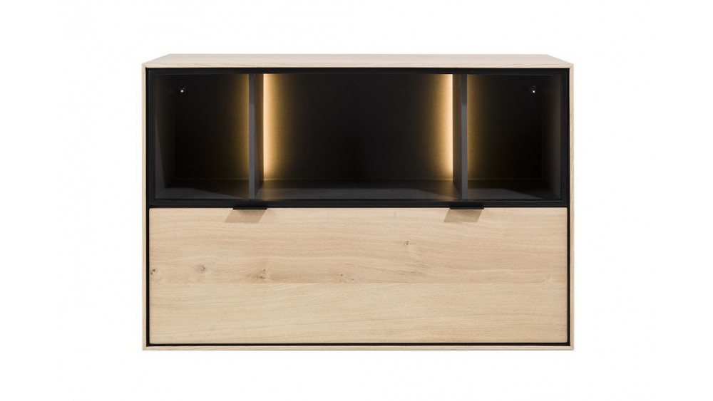 Elements, Box 60 X 90 Cm. - Hang + 1-Lade + 3-Niches + Led - Natural