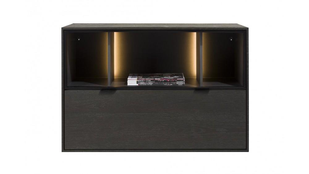 Elements, Box 60 X 90 Cm. - Hang + 1-Lade + 3-Niches + Led - Onyx