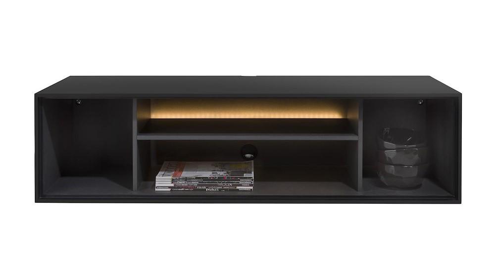 Elements, Box 30 X 120 Cm. + Legplank - Lak - Hang + 4-Niches + Led - Off Black