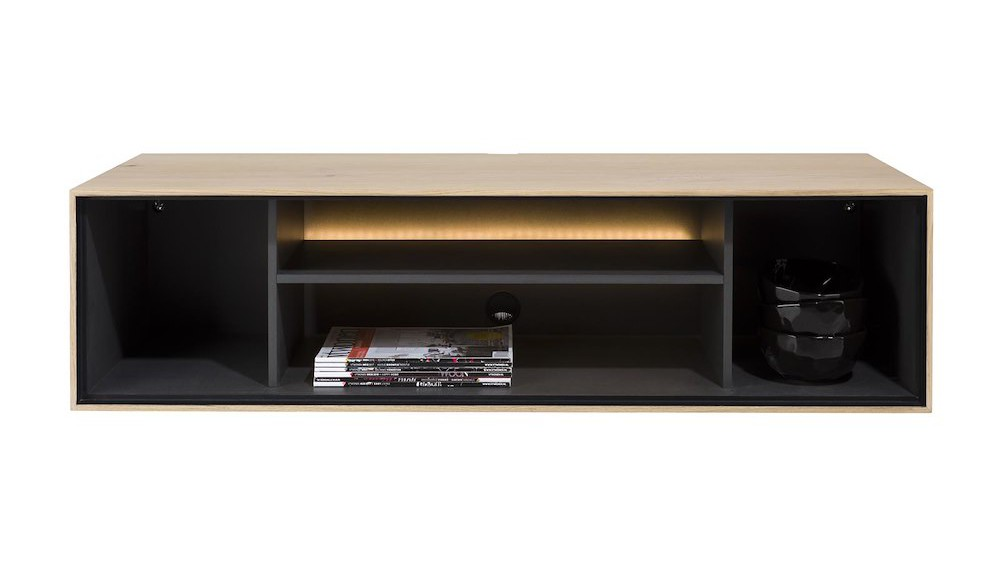 Elements, Box 30 X 120 Cm. - Hout - Hang + 4-Niches + Led - Natural