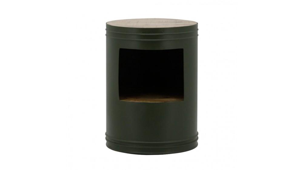 bijzettafel barrel rond metaal/hout groen