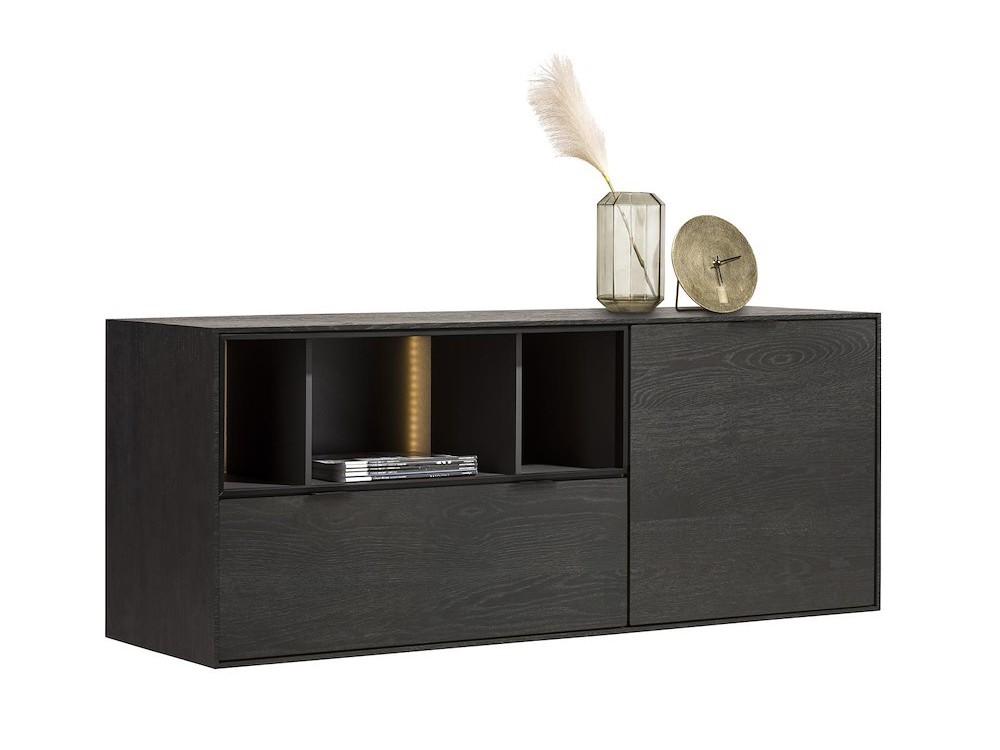 Elements, Dressoir 150 Cm. - 1-Deur + 1-Lade + 3-Niches + Led - Onyx