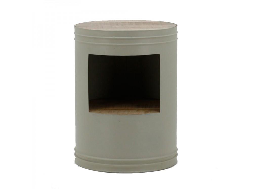 bijzettafel barrel rond metaal/hout grijs