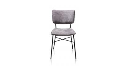 Bjorg, Eetkamerstoel - Multiplex Rug Antraciet - Stof Savannah - Steel Grey