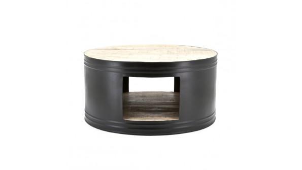 bijzettafel barrel rond metaal/hout zwart