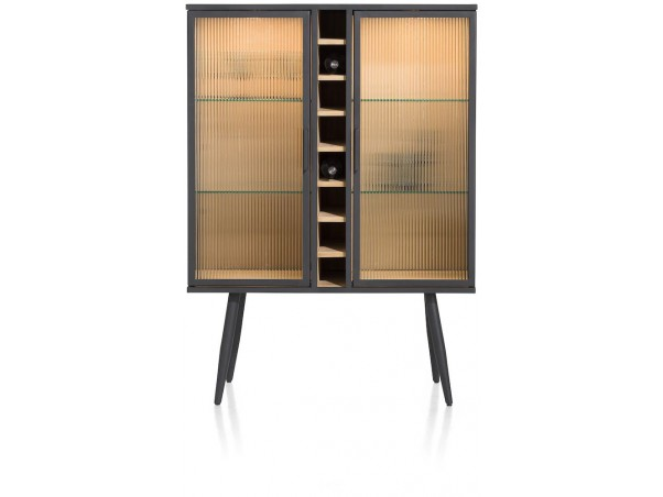 Kinna, Wijnkast 100 Cm - 2-Glasdeuren + 8-Wijnvakken (+ LED)