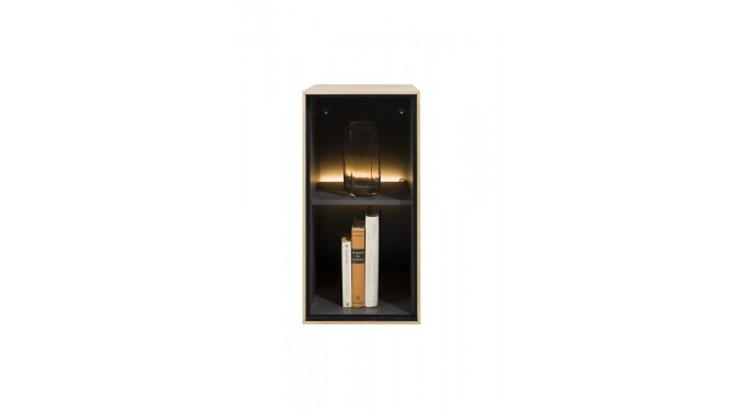 Elements, Box 60 X 30 Cm. - Hout - Hang + 2-Niches + Led - Natural