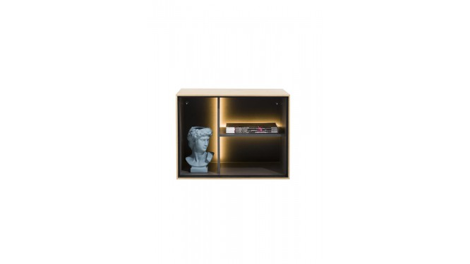 Elements, Box 45 X 60 Cm. - Hout - Hang + 3-Niches + Led - Natural
