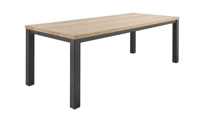 Eettafel Sontari houtstructuur/metaal 190x90cm
