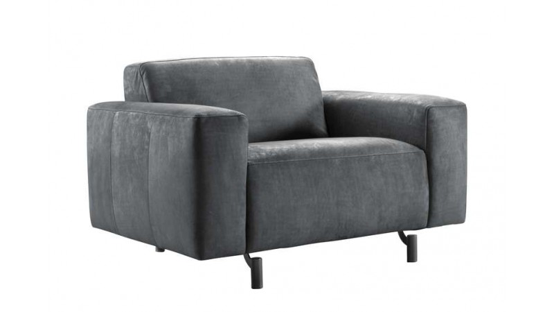 loveseat carolina antraciet leer met boxspring vering