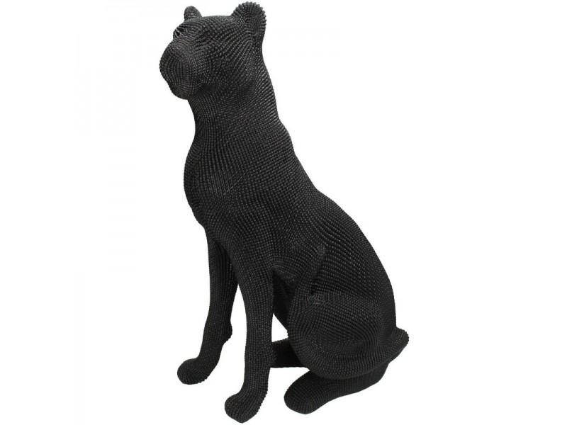 Ornament leopard polyresin black