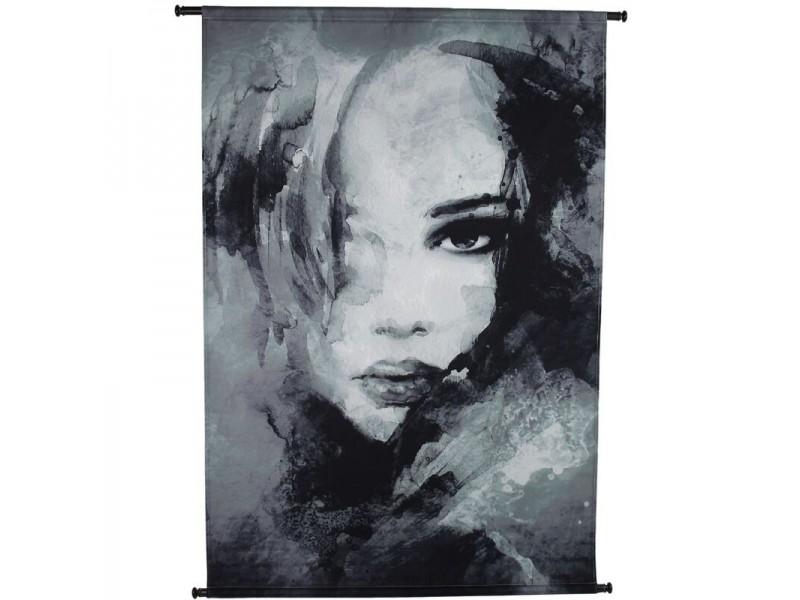 Wall hanging woman face velvet black