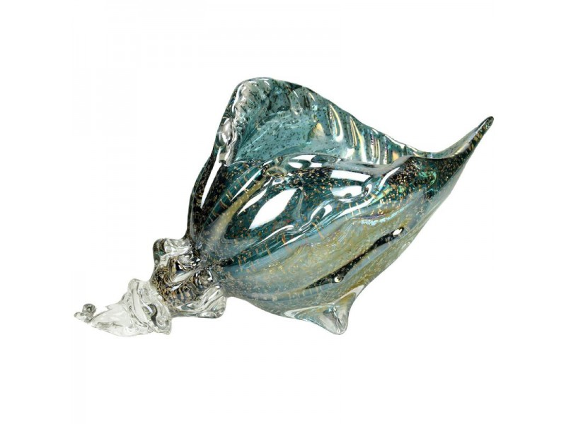 Ornament shell glass blue 30x19x17cm