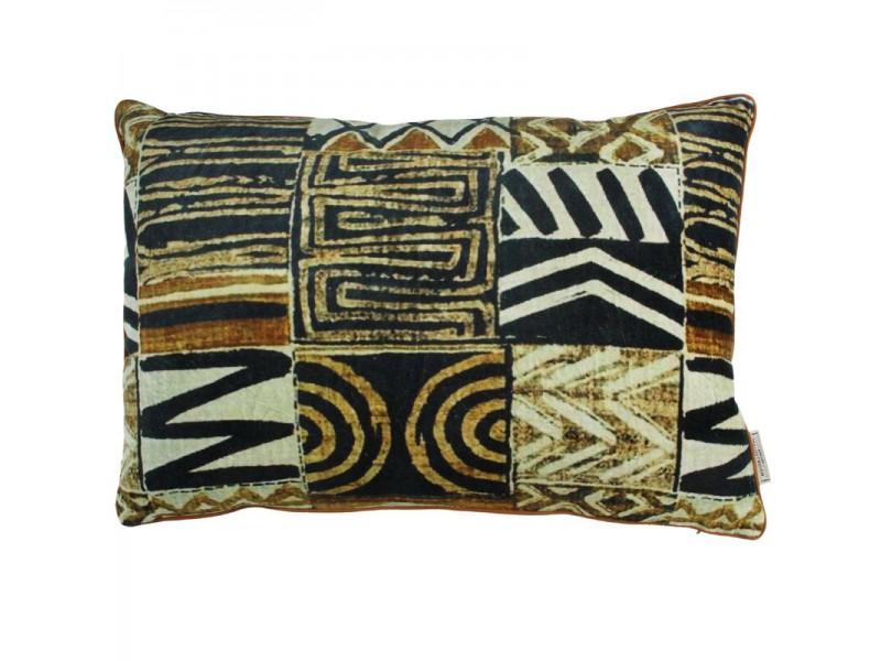 Cushion tribal velvet brown 40x60cm