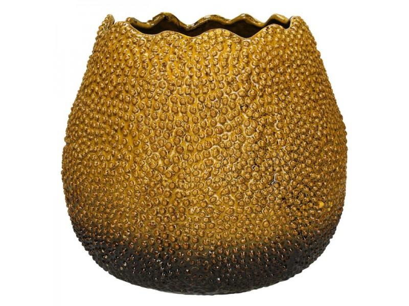 Planter fine earthenware yellow