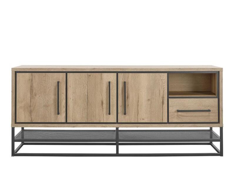Dressoir Sontari houtstructuur/metaal