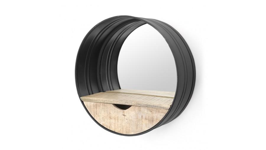 Spiegel ROUND met lade Metaal Zwart